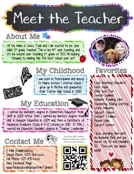 Meet The Teacher Editable Flyer Handout Scribble Themed Meet The Teacher Meet The Teacher Template Teacher Introduction Letter