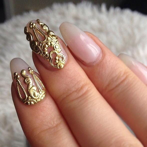HOT 10pcs gold &silver 3D alloy Nail art Decoration 3d Metal Nail ...