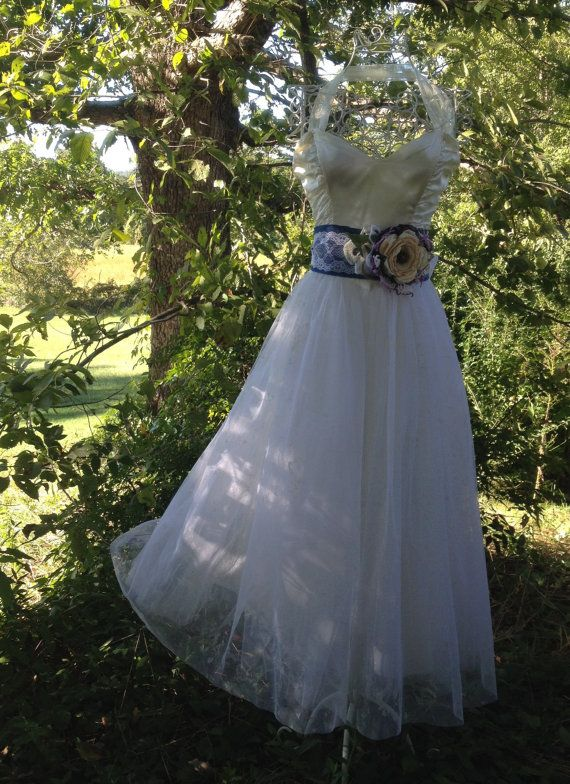 Denim Wedding Dress with lace detail| Country/western wedding