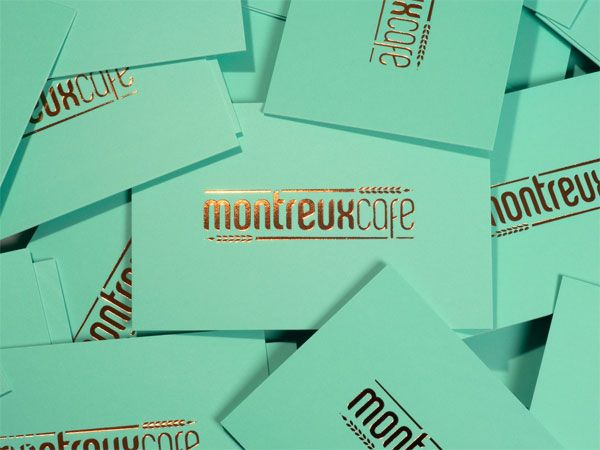 Montreux Café Identity System: Great colors and use of the gold foil! ---> Repinned by www.gers.nl