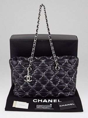 The Chanel Black Tweed Stitch Bubble Tote Bag is stylish and unique for the  Spring 2011 collection. This adorable bag is features Chanel s trademark  diamond ... d38bdcf2d51e9