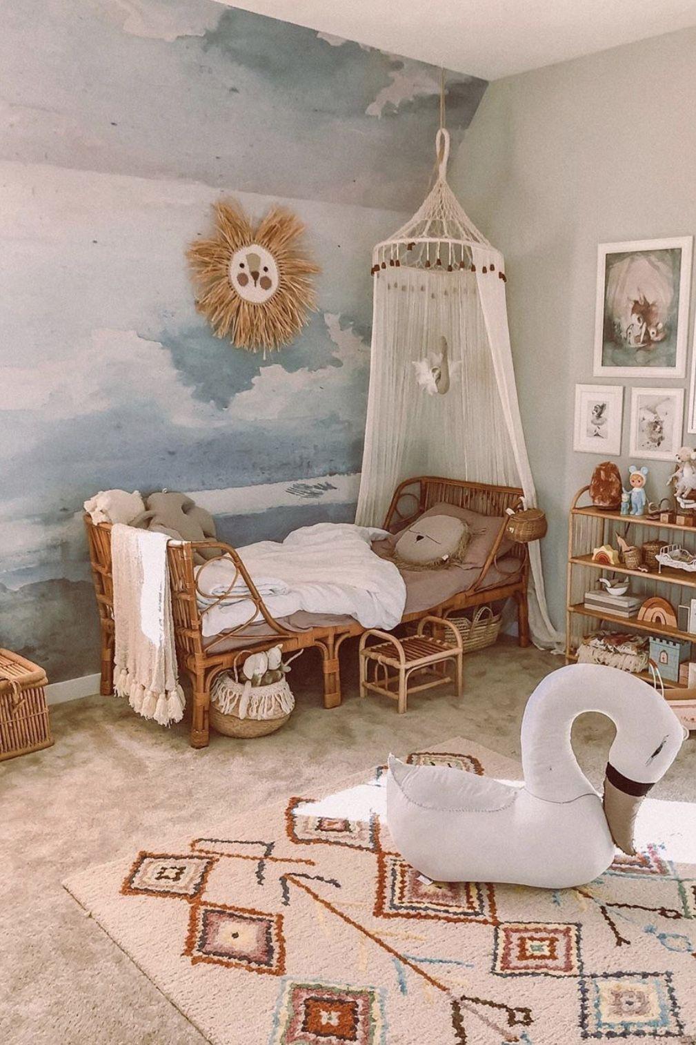 Cloud Wallpaper Boho Kids Room Neutral Kids Room Baby Room Decor Decorating kids bedrooms room