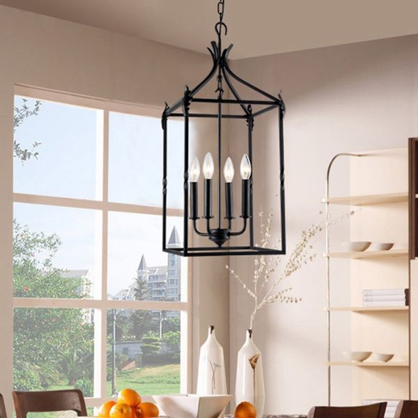 119 Beatriz 4 Light Black Classic Iron Hanging Lantern Chandelier