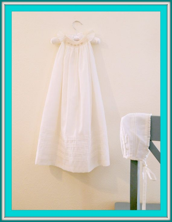 d9bff8f57 Long Baptism Gown Long Christening Gown with by SUMACLOTHES