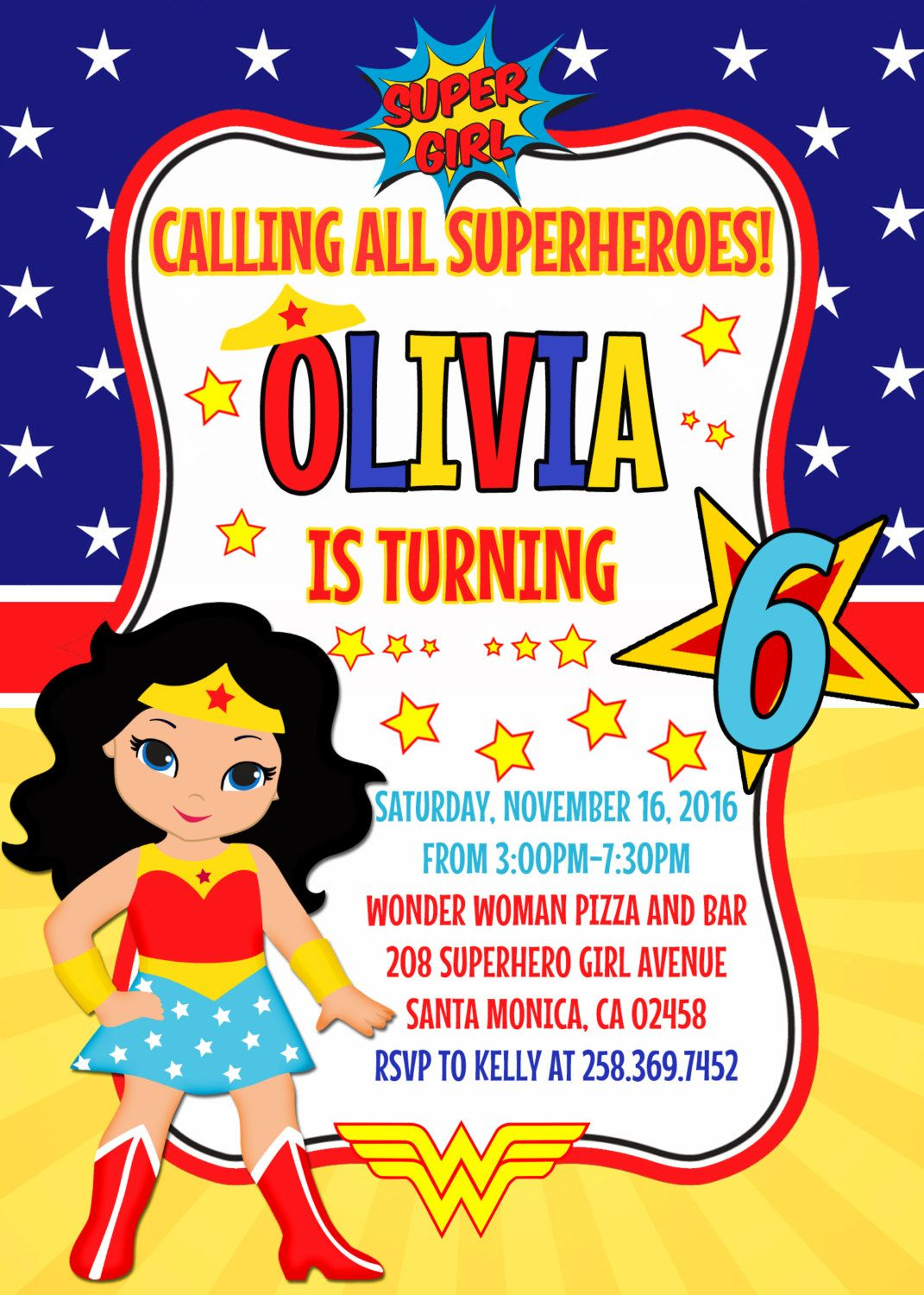 Wonder Woman Invitation Clipart Birthday Party