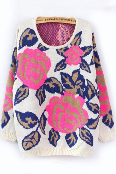 Lazy Rose Graphic Sweater OASAP.com