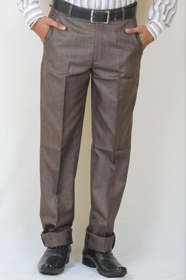 52c82eb46c9a Buy Brown Color Formal Bamboo Trouser For Men Online in India ...