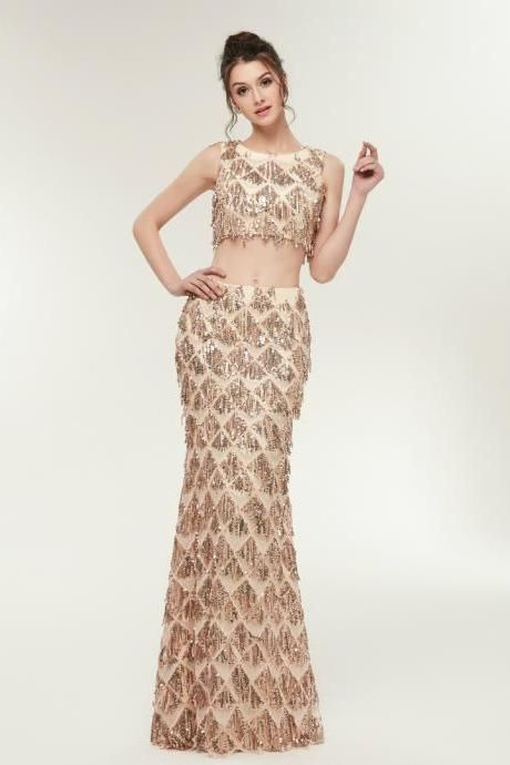 Photo of Gold Mermaid Scoop Neck Two Piece Backless Sleeveless Prom Dress,
