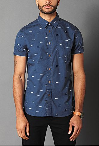 d3e3fb60058 Shark Print Cotton Shirt