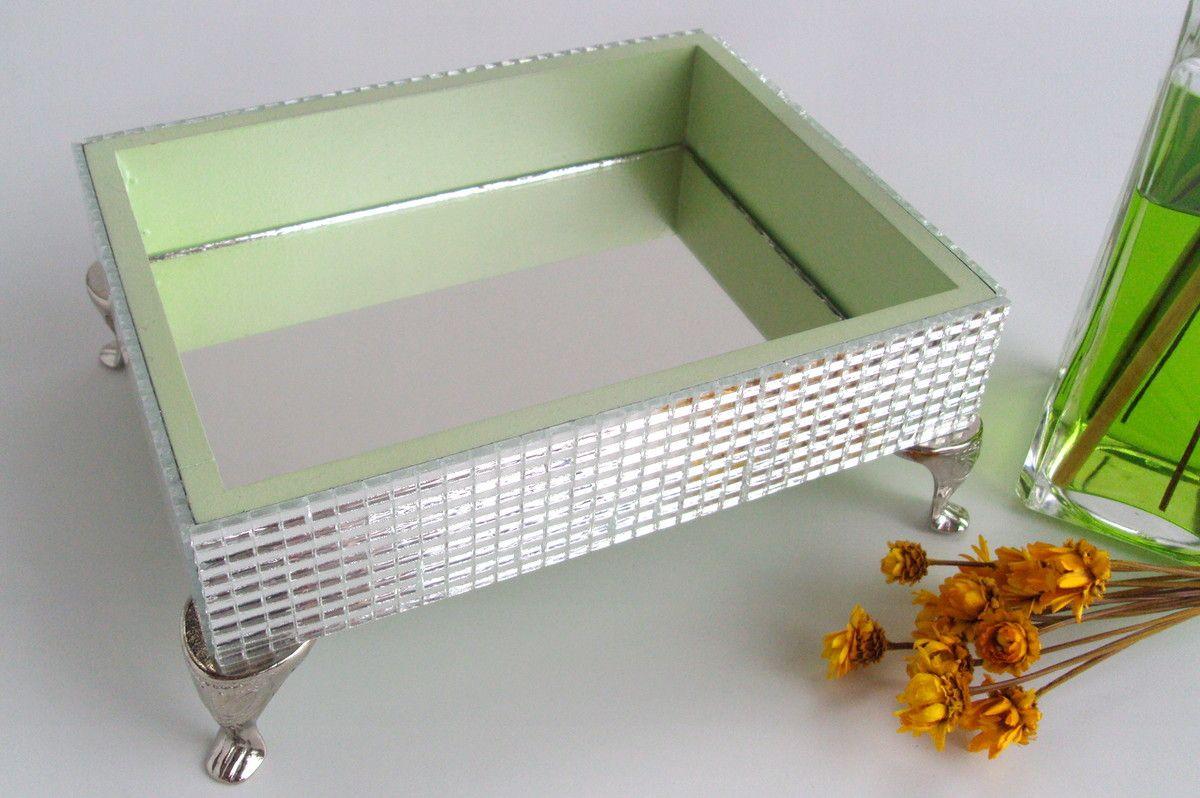 Artesanato Fortaleza Comprar ~ Suporte em mdf pintado e decorado com espelhinhos por fora e espelho na base Possui pezinhos de