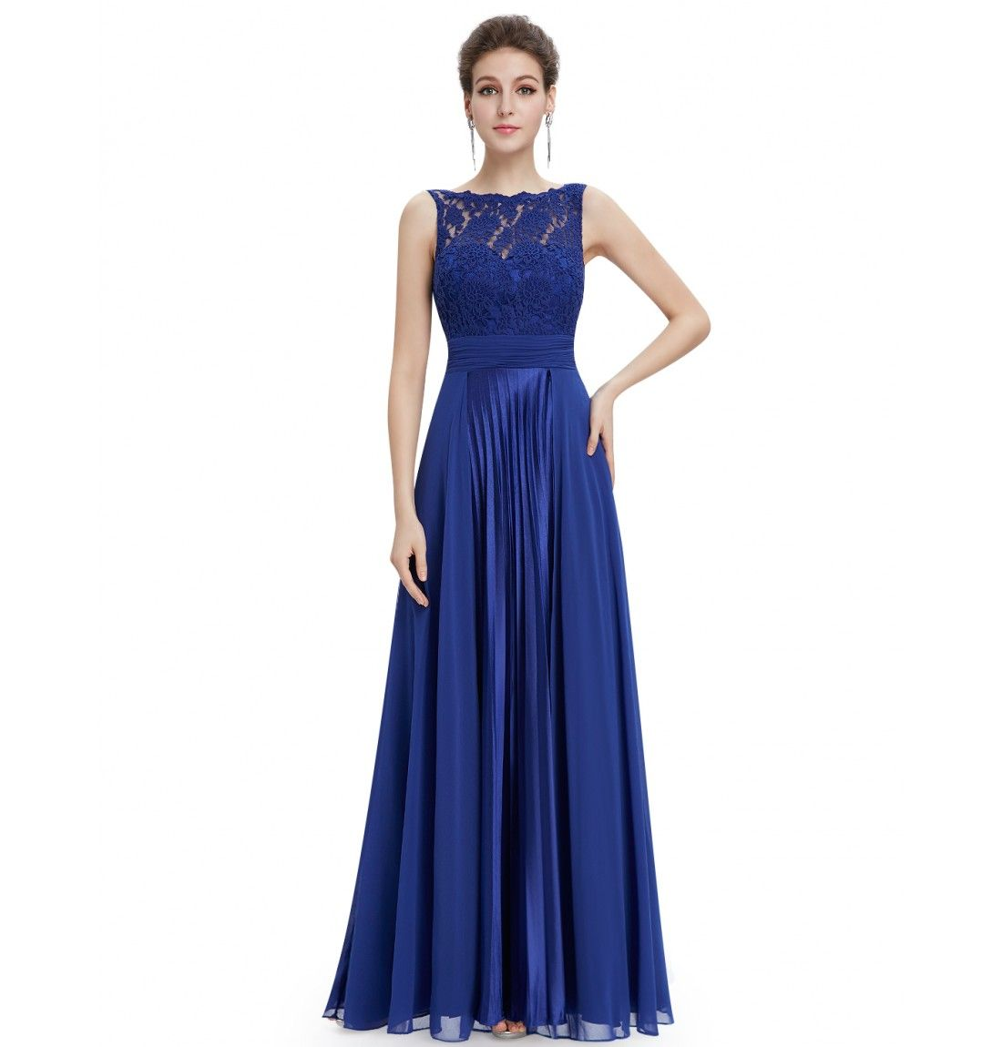 Elegantes Brautjungfer Abendkleid Blau Rundhals | prom dress ...