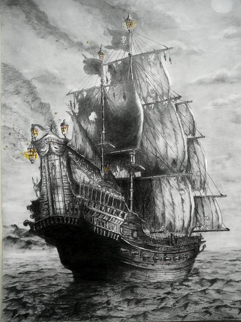 Queen Anne S Revenge By Bluepaintart On Deviantart Pirate Ship Tattoos Ship Tattoo Old Sailing Ships