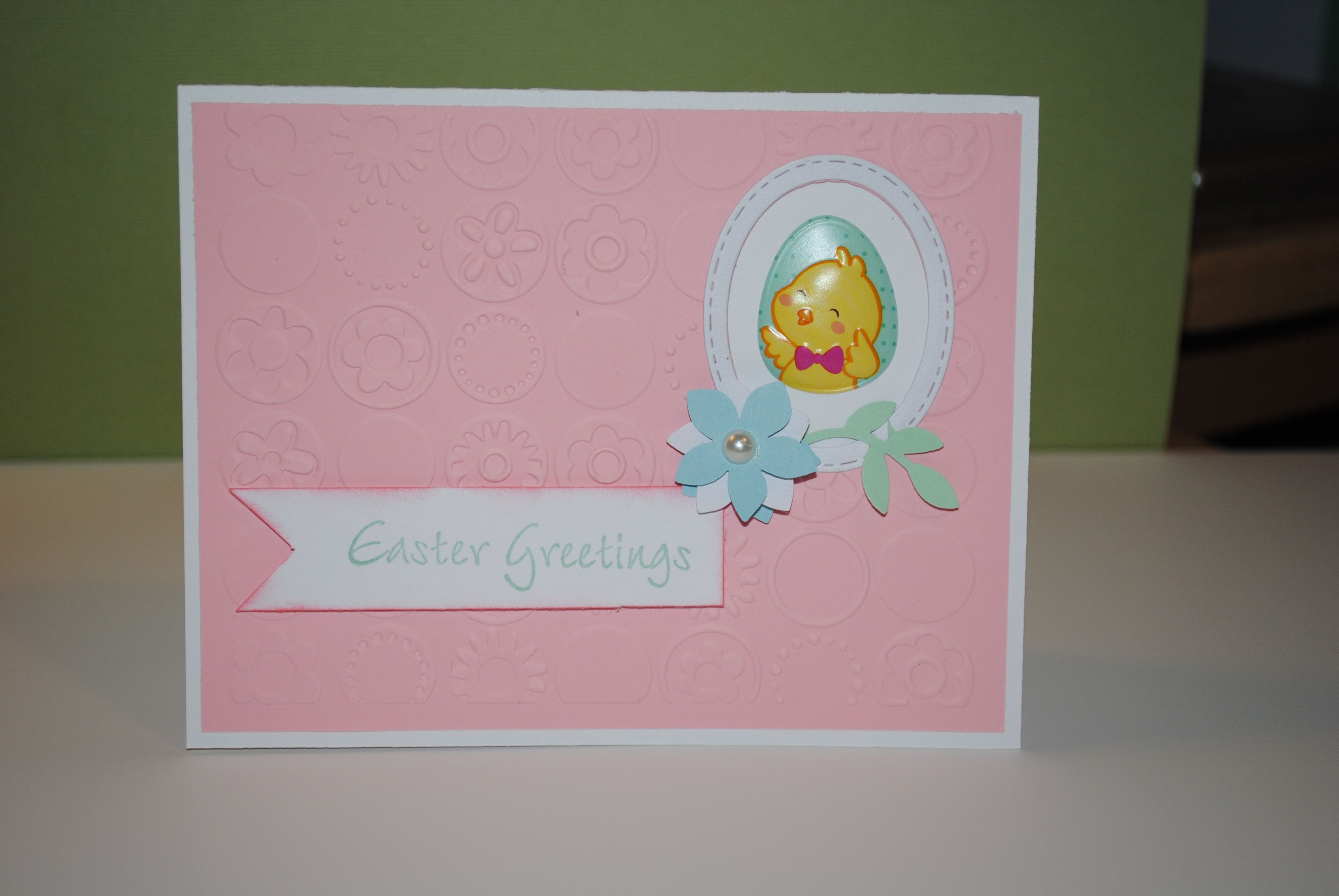 Easter card with embossed background easter greetings