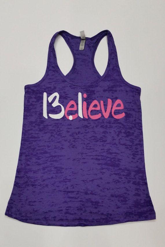 Believe 13.1 Half Marathon Running Tank Top. Burnout Racerback TankTop. Half…