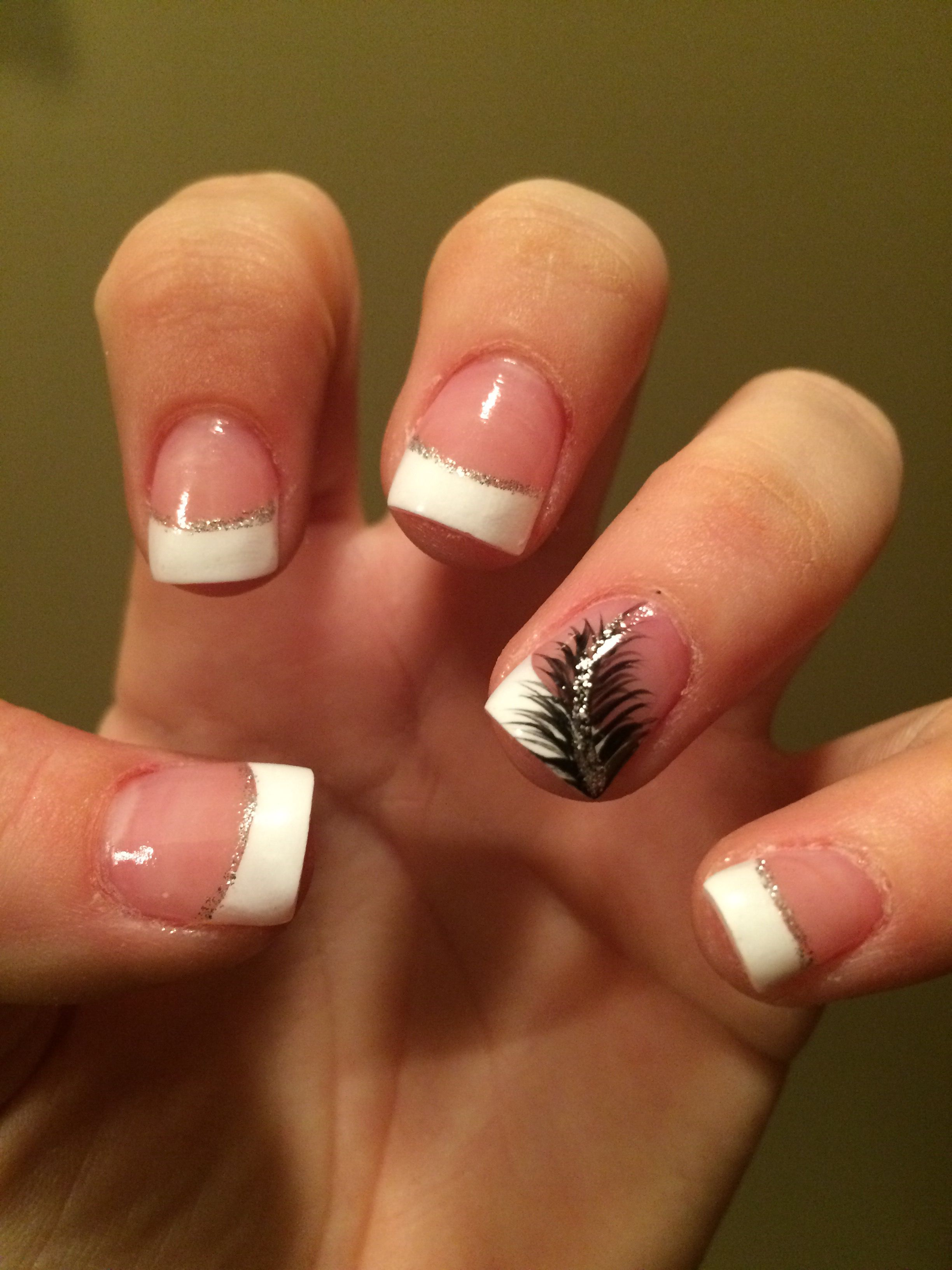 French tips with a feather. In love | Nails | Pinterest | Feathers ...