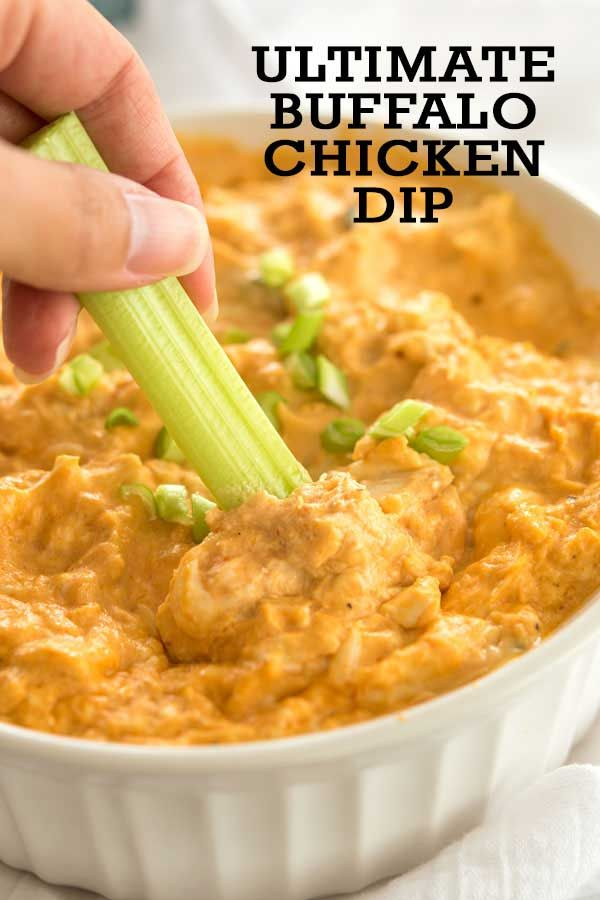 Easy recipe on how to make buffalo chicken dip - the best party appetizer EVER!!! Made in crock pot or baked in oven. #appetizer #superbowl #buffalochickendip