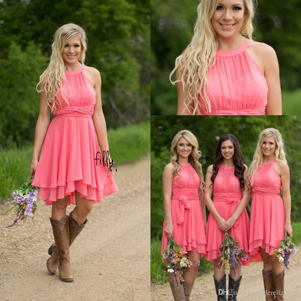 cheap country bridesmaid dresses summer beach chiffon knee