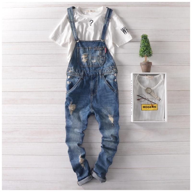 19fa77470205 Men s Skinny Bib Overalls Jeans Fashion Slim Fit Ripped Jeans Overalls  Denim Jumpsuits Pants Man Casual Cotton Jeans For Male