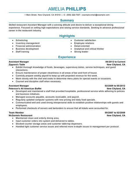 restaurant assistant manager resume big example managers sample - assistant manager restaurant resume