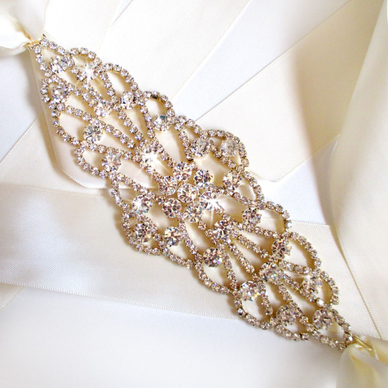 Extra wide gold wedding dress sash rhinestone encrusted
