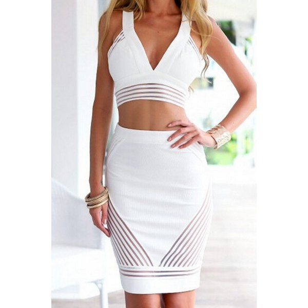 Stylish Plunging Neck Sleeveless Short Tank Top and Skirt Suit For Women