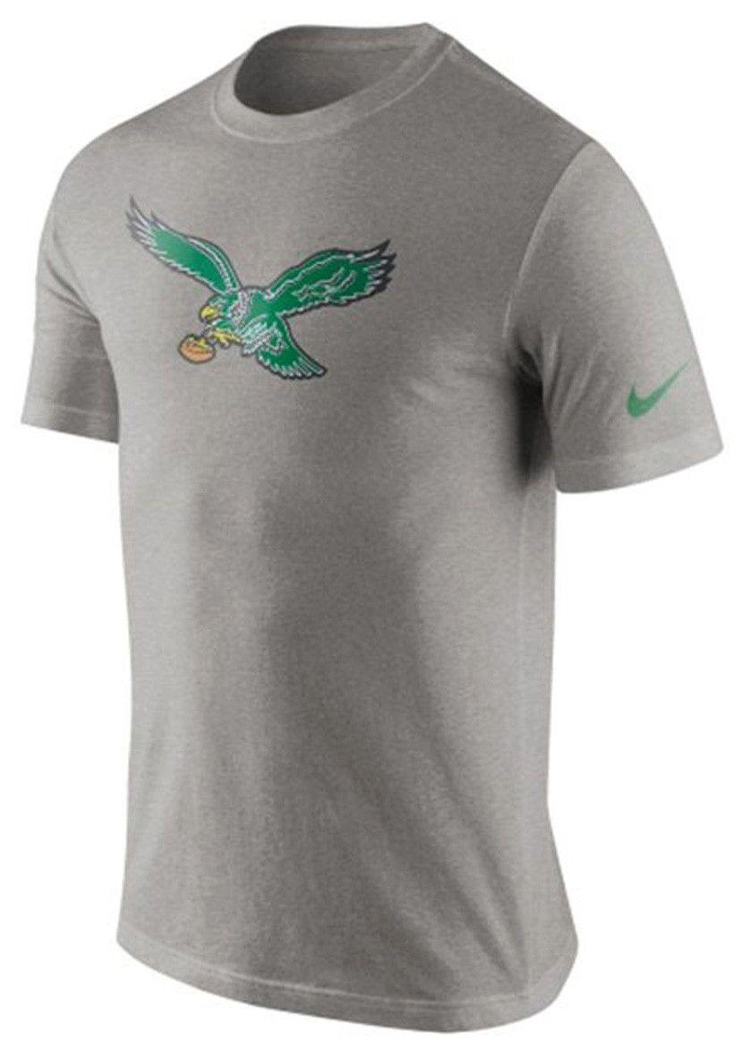 NIKE NFL PHILADELPHIA EAGLES Retro Vintage Throwback Logo Mens Gray T-Shirt c2ea784a3