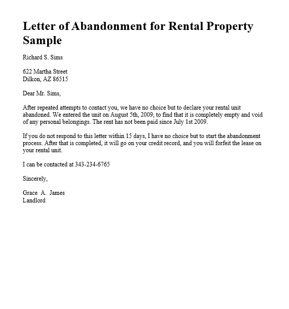 Abandonment Notice Template Templates Being A Landlord Abandoned