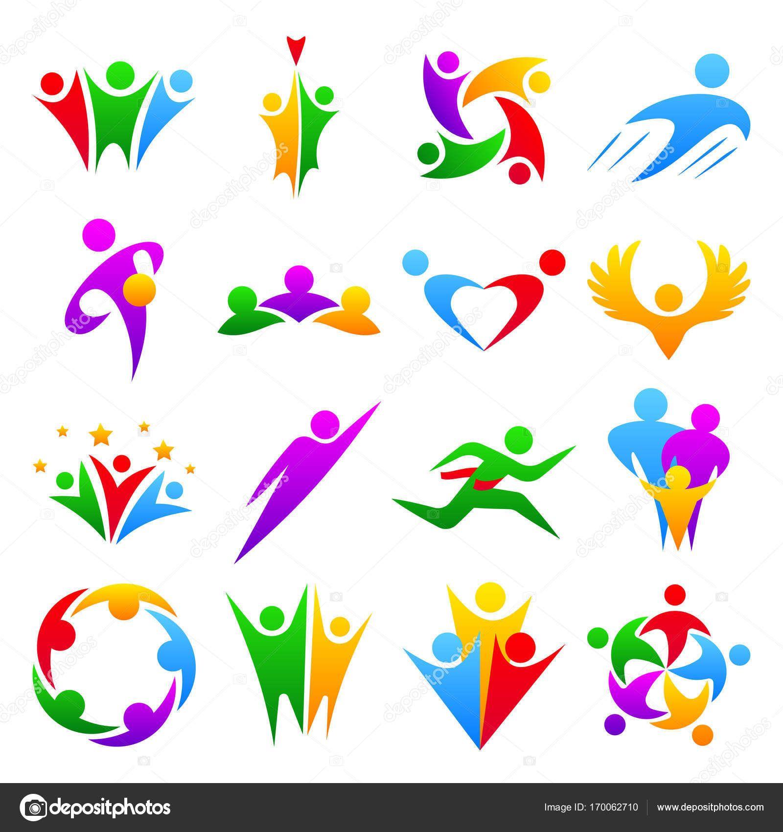 099db2eb4aa61 Descargar libre de regalías Silueta de cuerpo abstracto personas equipos  grupo formas iconos Insignia concepto humano