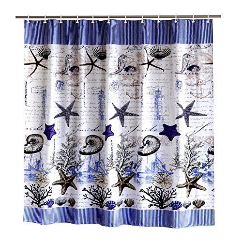 Toha Waterproof Seashell Shower Curtain In Bath Wrinkle Https