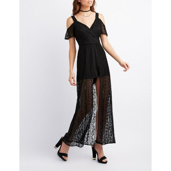 1ebe6b03e59 Charlotte Russe Mesh Lace Cold Shoulder Maxi Romper ( 22) ❤ liked on  Polyvore featuring
