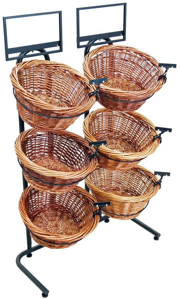 3 Tier Basket Stand With 6 Bins Sign Clips Wicker Black Grocery Store Design Tiered Basket Stand Retail Store Design