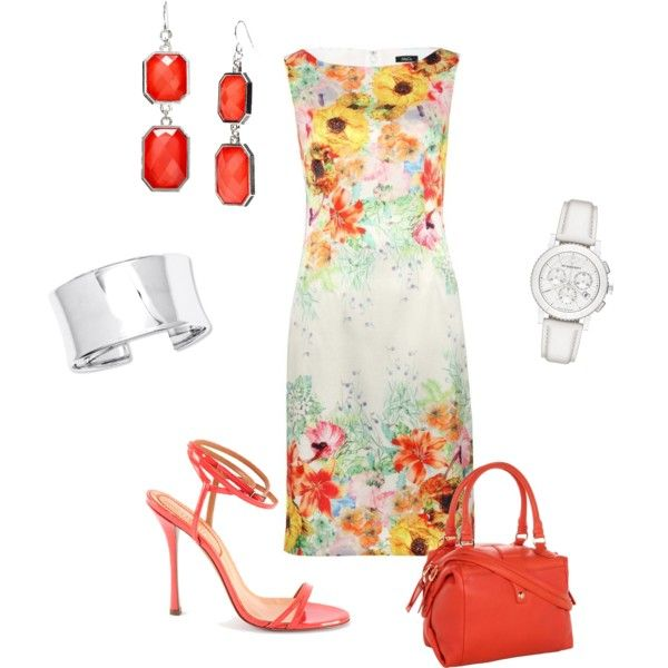 Coral and Flowers by seidsonstephens on Polyvore