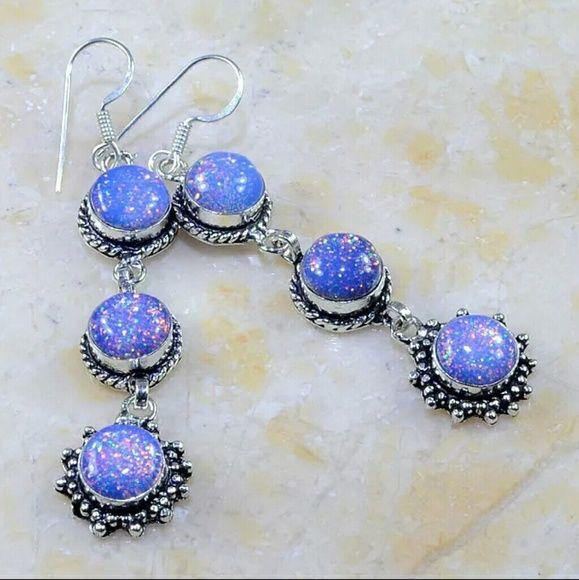 """RAINBOW FIRE OPAL SILVER EARRINGS 3"""" RAINBOW FIRE OPAL SILVER EARRINGS 3"""" lab created...925 stamped  One of a kind! Jewelry Earrings"""