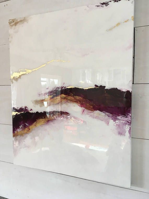 SOLD Beautiful Shiny purple marble abstract statement art Resin high gloss painting with goldleaf accents on canvas