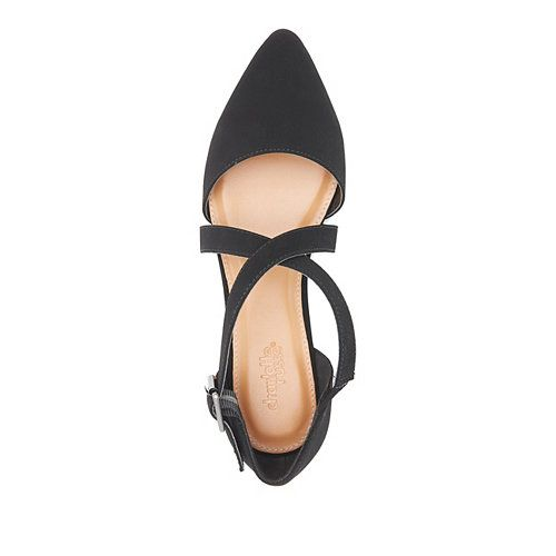 Cross-Strap Pointed Toe D'Orsay Flats