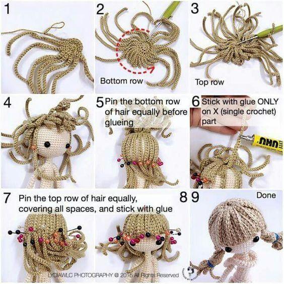 cabelo de croche para doll | Patrones amigurumi, Muñecas y Muñecos ...
