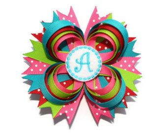 girls multicolor zebra decor   Monogrammed Hair Bow 4 inch persona lized hairbow in hot pink, lime ...