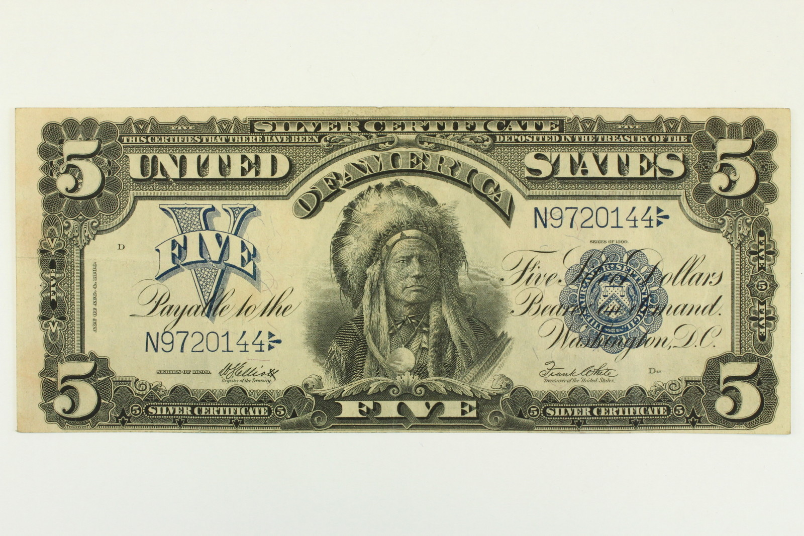 1899 Five Dollar 5 Bill Indian Chief Note Silver Certificate Blue