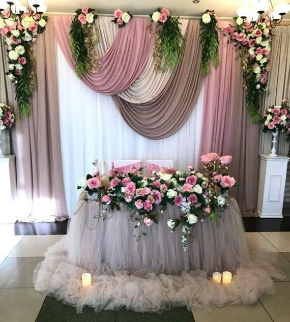 Stunning and glamorous tablecloth! Amazing touch of look to sweetheart table, bridal showers, or for any fabulous events! Draping our extra length chiffon tablecloth to the floor creates incredible, eye-catching decorative moments to your event tables. ***** An extra drop length to the floor of