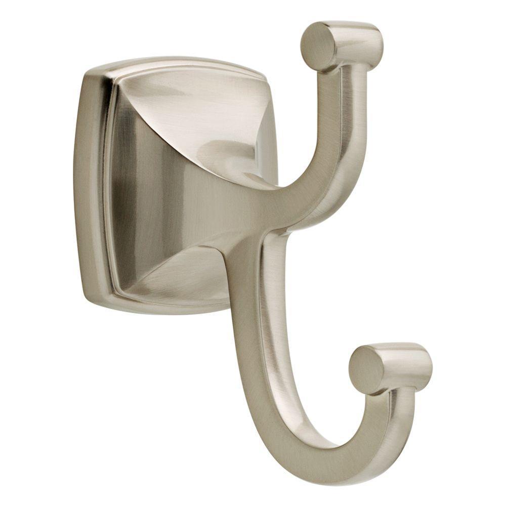 Delta Amaya Double Towel Hook In Brushed Nickel Ama35 Sn The Home Depot Towel Hooks Brushed Nickel Kitchen Faucet Bathroom Hardware