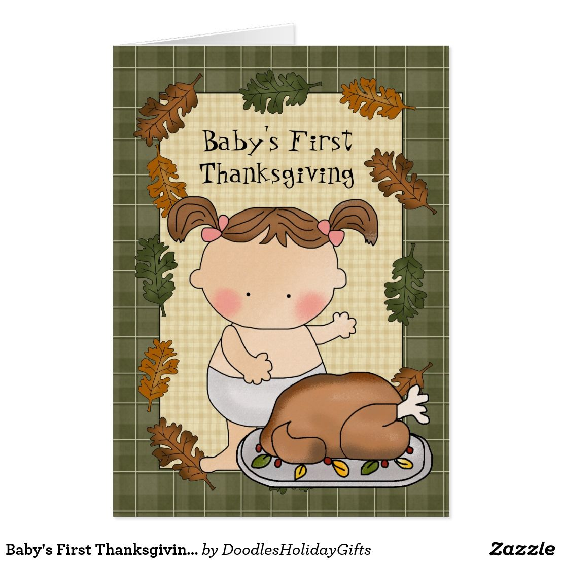 baby's first thanksgiving greeting card | custom thanksgiving