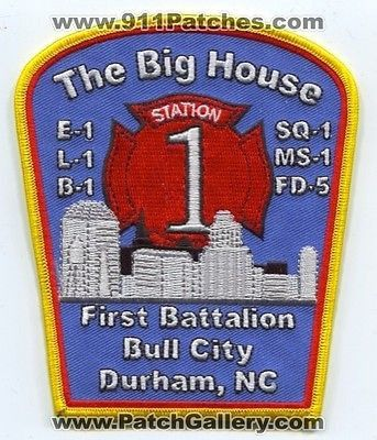 Durham Fire Dept Station 1 Company Battalion Engine Patch North