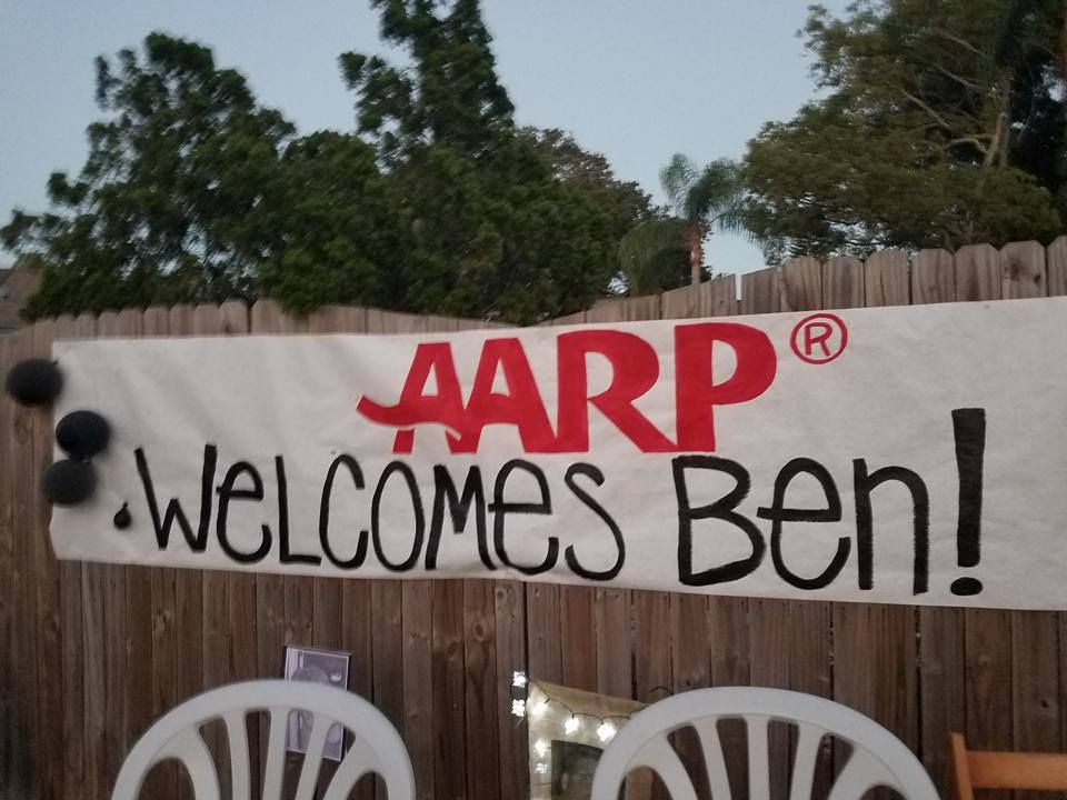 Funny 50th birthday party ideas. AARP decorations. Funny