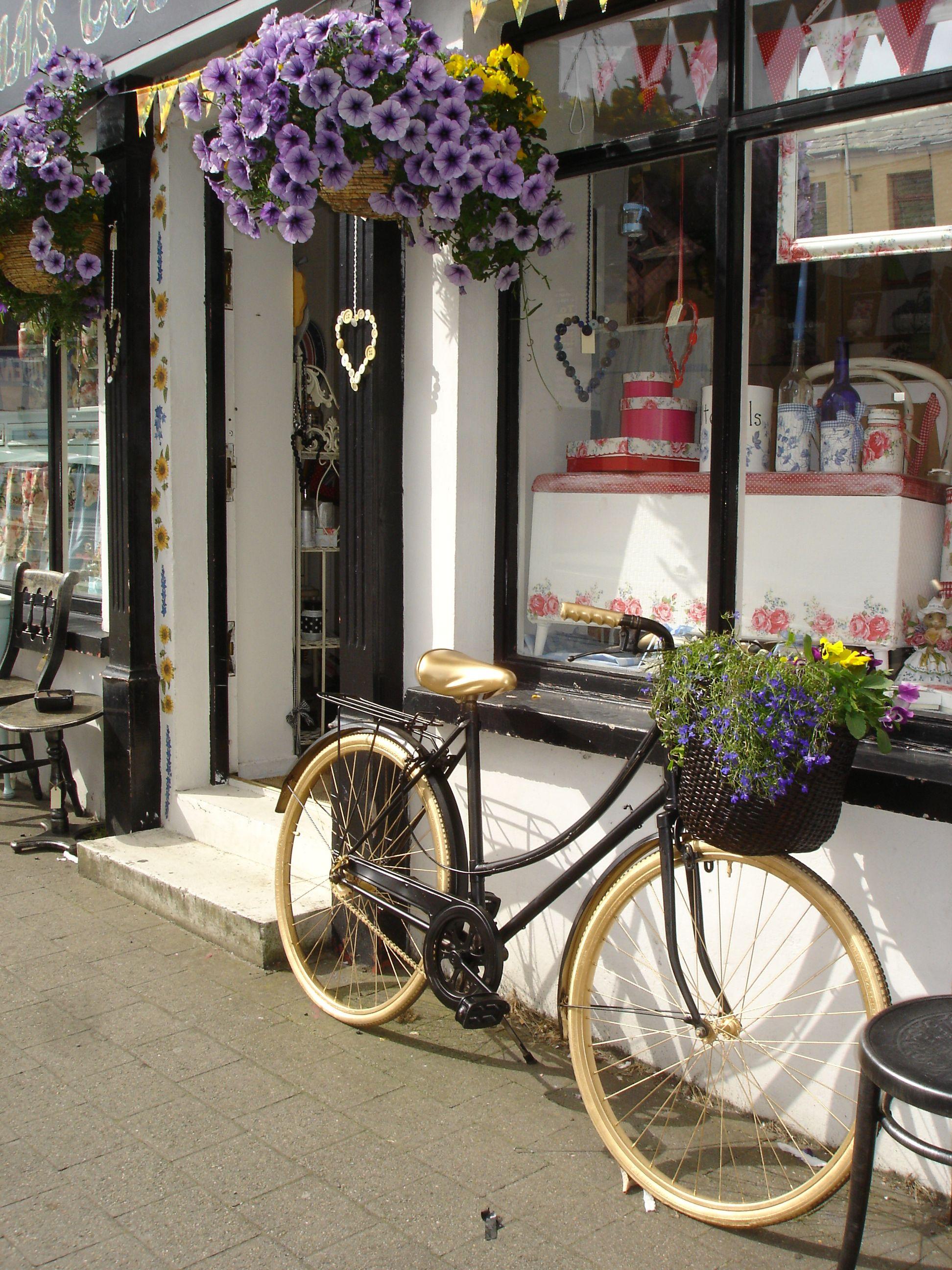 Front Of My Shop In Northern Ireland With Vintage Bike Www Mishascountryworkshop Co Uk With Images Shop Fronts Little Cottage Vintage Shops