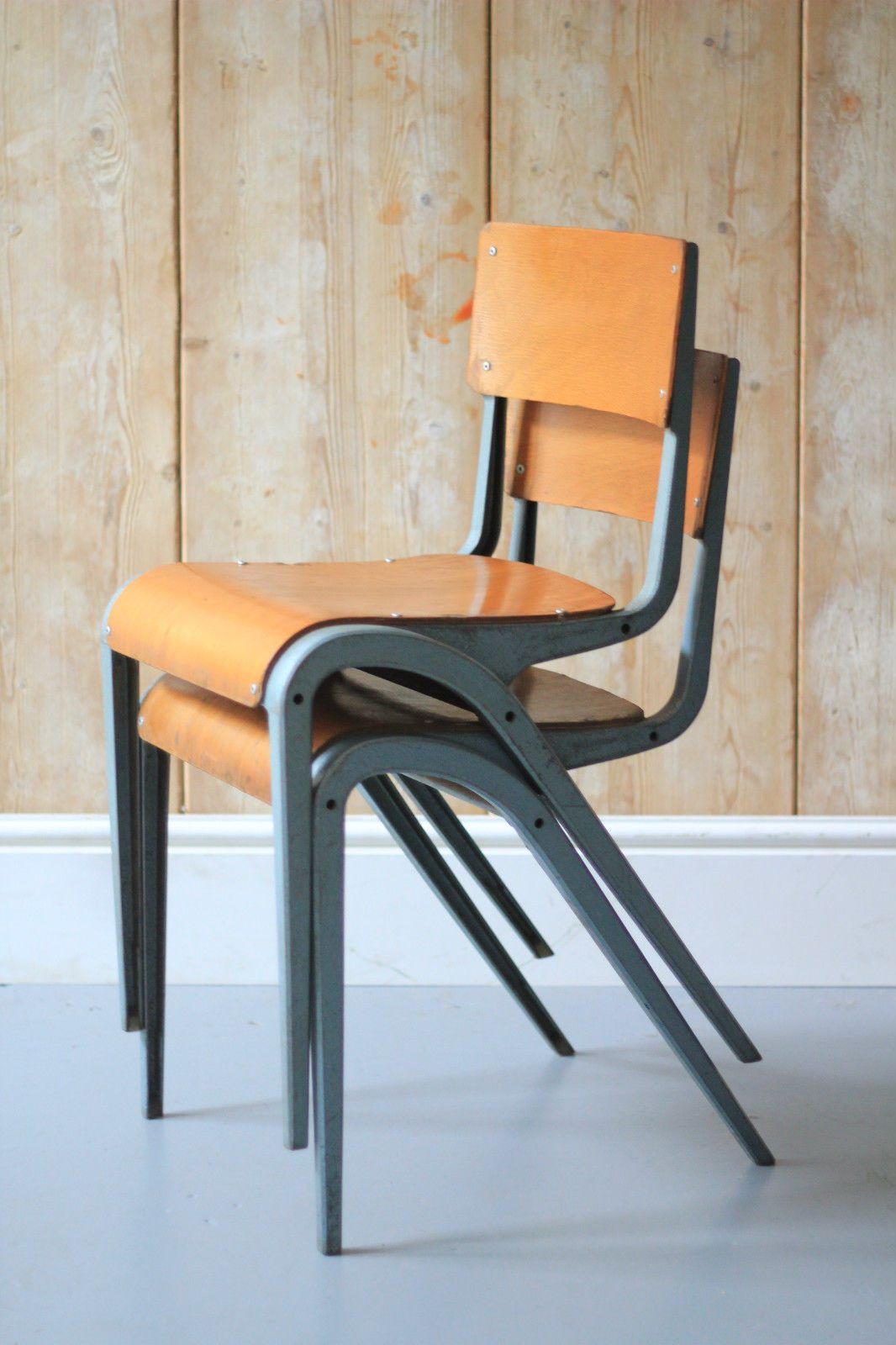 Esavian Vintage Industrial Mid Century Stacking School Chairs X2