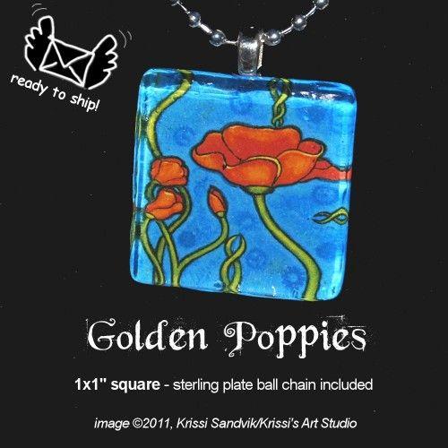 Art Nouveau Inspired California Poppy By Mason Larose: Nouveau Style California Golden Poppies Art Pendant