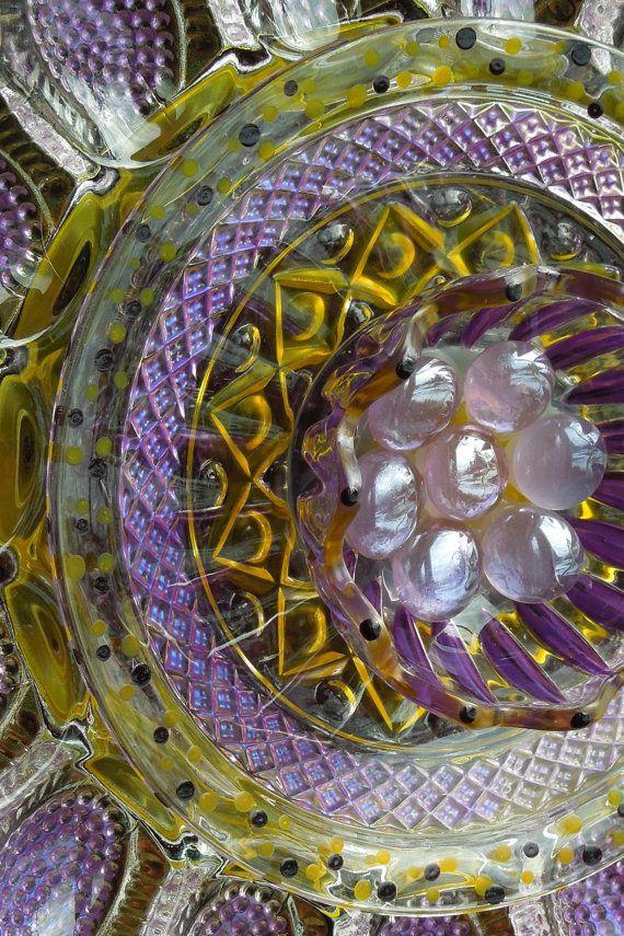 More recycled glass garden art.