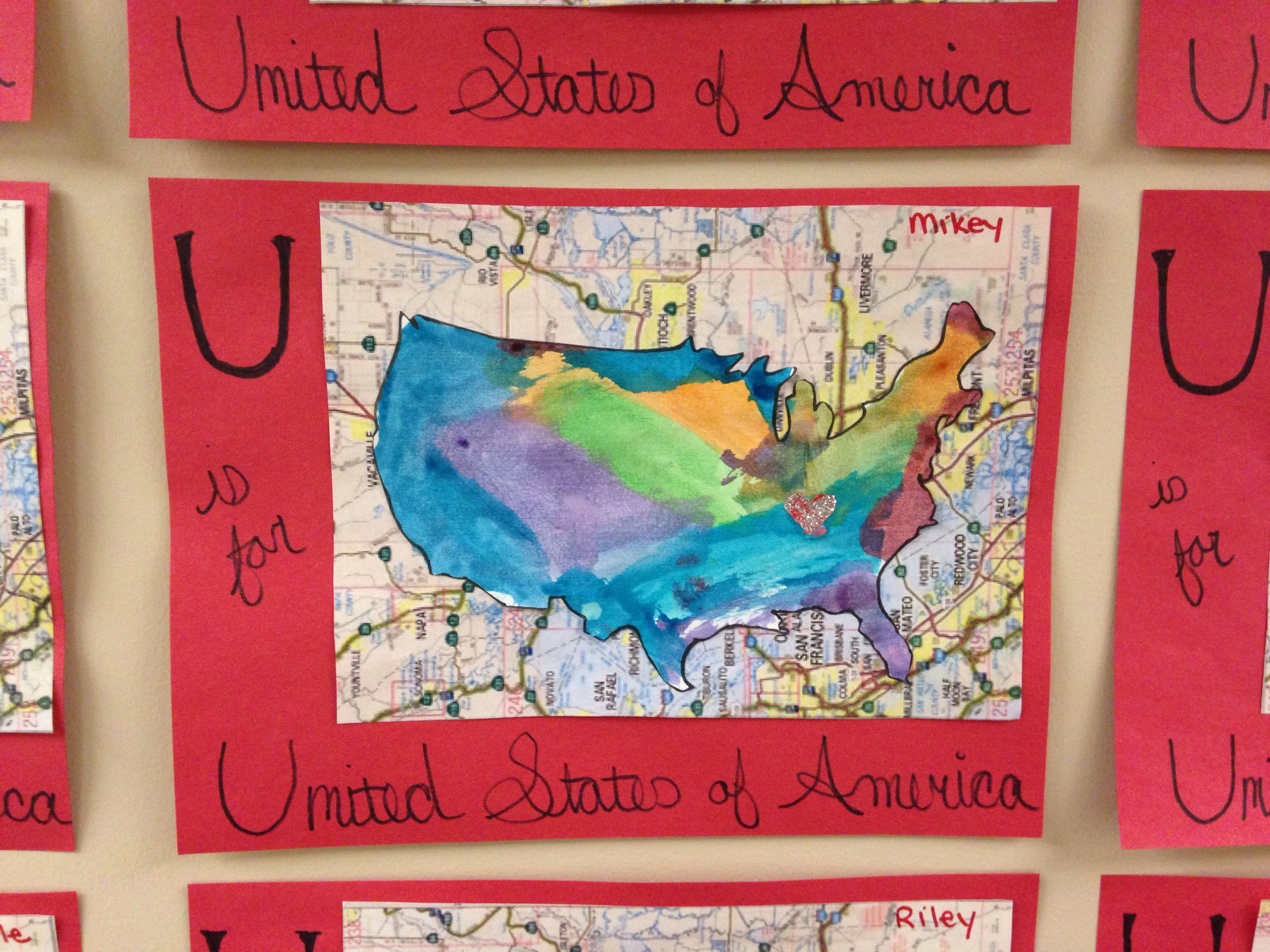 Letter U Activity Preschool United States Tennessee Watercolor Map U Is For