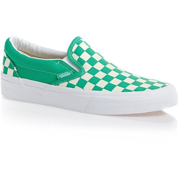 eec3785f39fe Vans Classic Slip-on Shoes Checkerboard Aqua Green white ( 46) ❤ liked on  Polyvore featuring shoes
