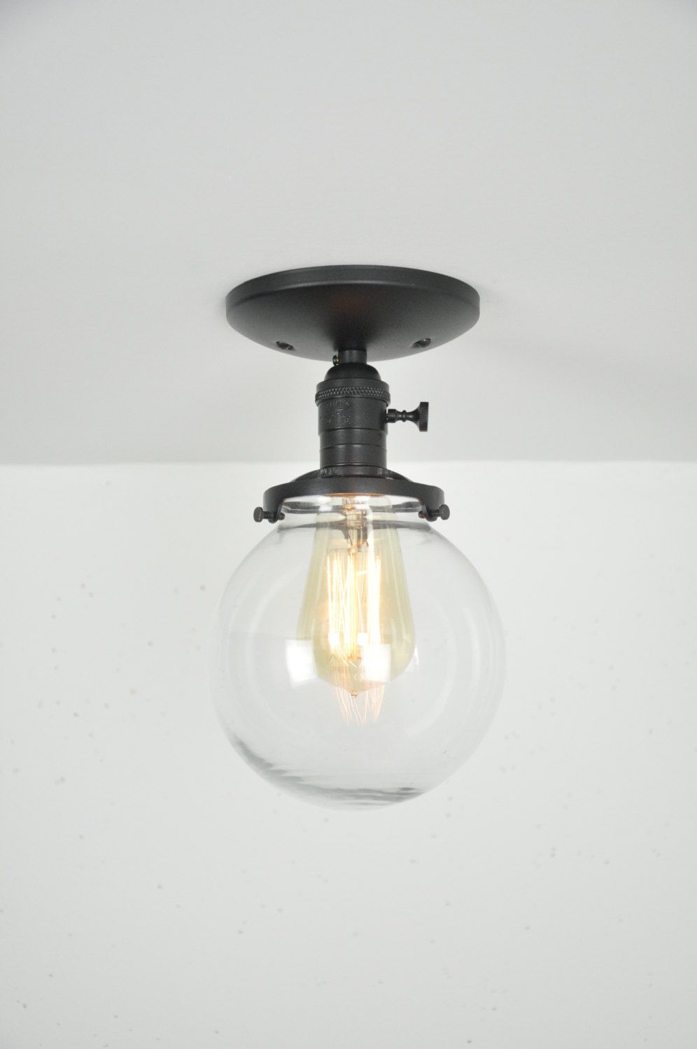 6 Flat Black Gl Globe Pendant Light Fixture Also Available With Larger Globes High Quality Materials This Makes A Beautiful Ceiling Mounted